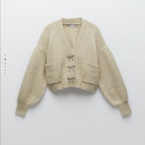 Knit Cardigan with jewelled bow buttons